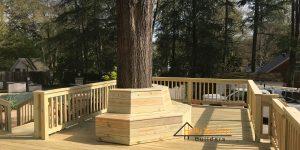 Deck built around a tree