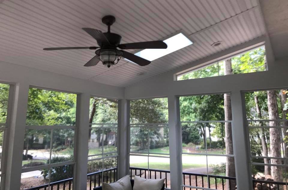 Customized Comfort and Style: Skylights and Fans for Your Screened Porch